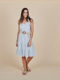 Lichtblauw gestreept doorknoopkleed met banden en riem Senso