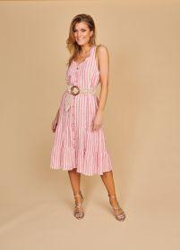 Roze gestreept doorknoopkleed met banden en riem Senso