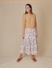 Beige rok met banden en bladerenprint in aardetinten Senso