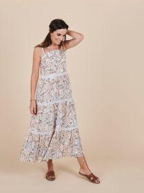 Beige bain soleil kleed met aardetinten bladerenprint Senso