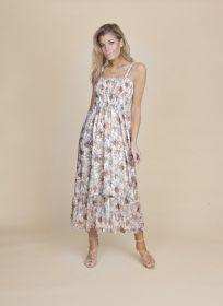 Lichtblauw beige lang kleed met print Senso