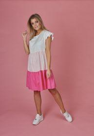 Roze wit gestreept kleed met banden Senso