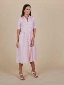 Roze lang hemdkleed met borstzak Senso