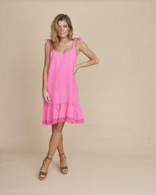 Roze bain soleil kleed met volant onderaan Senso