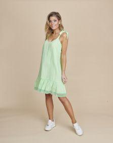 Groen bain soleil kleed met volant onderaan Senso