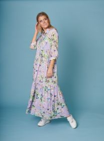 Lila gebloemd lang kleed Senso
