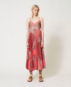 Rood plissékleed met print Twinset