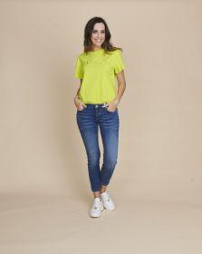 Gele T-shirt met opschrift Twinset