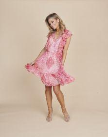 Roze kleed met print en jabot Twinset