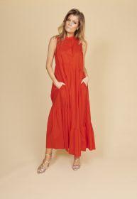 Oranje lang kleed met banden Twinset