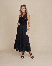 Zwart kleed met tricot bovenaan en banden onderaan Twinset