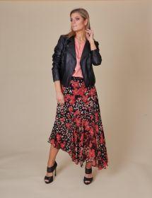 Zwarte schuine rok met roze bloemenprint Twinset