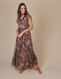 Zwart lang kleed met nude bloemenprint Twinset