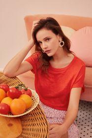 Oranje T-shirt Des Petits Hauts