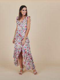 Gebloemd lang kleed met split Linea Raffaelli
