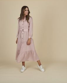 Roze lang hemdkleed met zigzagprint en banden Riani