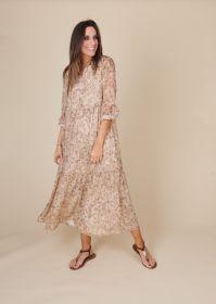 Beige lang kleed met print en banden Senso
