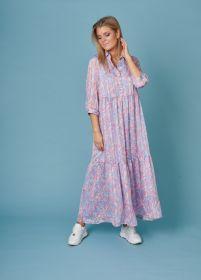 Lichtblauw lang kleed met bloemenprint Senso