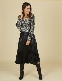 Zwarte V-hals bloes met leopardprint Heart Mind