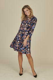 Blauw kleed met zalmkleurige bloemenprint Heart Mind