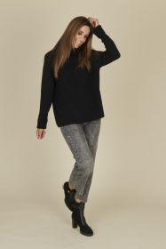 Zwarte oversized, geribbelde pull met kraag Riani