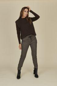 Zwarte, camel, grijze broek met pied de poule op elastiek Riani