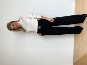 Zwarte geklede, wijde broek met riem Riani
