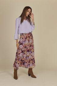 Paarse rok met bloemenprint HER