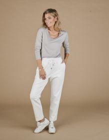 Taupe V-hals T-shirt met strass Le Tricot Perugia