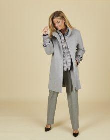 Grijze jas met mouwen en onderjas in andere materie Cinzia Rocca