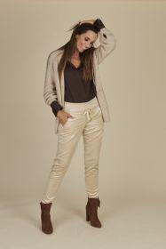beige broek in velours op elastiek model Candice Raffaello Rossi