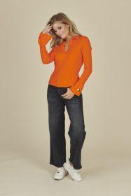 Oranje tricot polo Due Amanti
