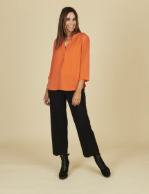 Oranje V-hals bloes Due Amanti