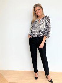 Zwarte 'geruite' bloes Twinset