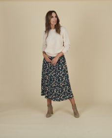Blauwe rok met groen beige print Terre Bleue