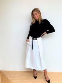 Ecru A-lijn rok met zwarte riem Spoon