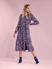 Blauw hemdlang kleed met roze bloemenprint Senso