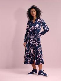 Blauw lang hemdkleed met roze bloemenprint Senso