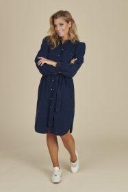 Blauw hemdkleed in velours Senso