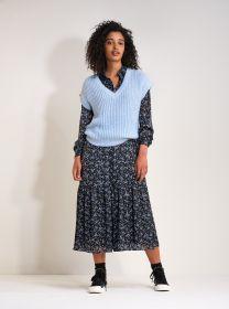 Zwart lang hemdkleed met lichtblauwe bloemenprint Senso