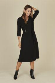 Zwart lang V-hals kleed met gesp in taille Amania Mo