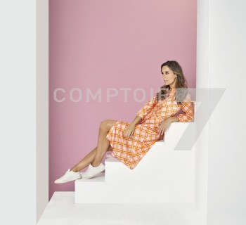 Roze- oranje geruit lang kleed Due Amanti